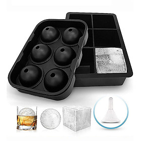 Food Grade Silicone Ice Cube Tray 6 Grids Round+Square  with Lids Combo(Set of 2) Ice Ball Cube Mold Small Ice Maker
