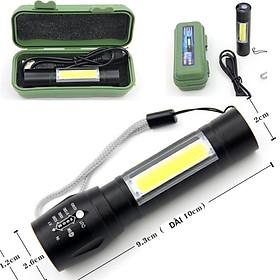 Đèn pin siêu sáng MINI móc cài, đèn led bỏ túi ,sạc cổng usb ,có zoom có led chớp , nhiều chế độ đèn