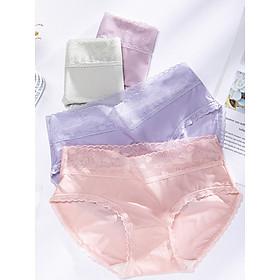 Combo 5 quần lót cotton lụa thông hơi mềm mại phối viền ren xinh xắn - ZQ9909 (Giao màu ngẫu nhiên)