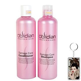 Cặp dầu gội/xả tái tạo tóc Obsidian Professional Damage Care Hàn Quốc (2x300ml) tặng kèm móc khoá-0
