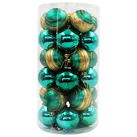 Hộp 30 Trái Châu Giáng Sinh Bóng 60 - Mẫu 1 - Màu Xanh Ngọc Lục Bảo