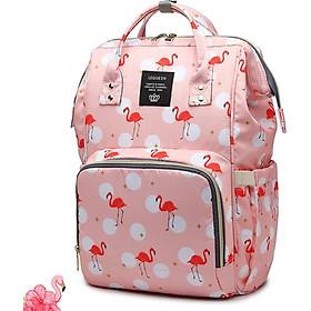 Balo túi xách bỉm sữa flamingo hồng xám Tặng kèm 100 ngôi sao dạ quang