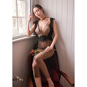 Váy ngủ lưới xẻ tà dáng dài hoa vai-Đen