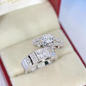 Nhẫn đôi bạc chính hãng, nhẫn cặp bạc đính đá cao cấp ND0296