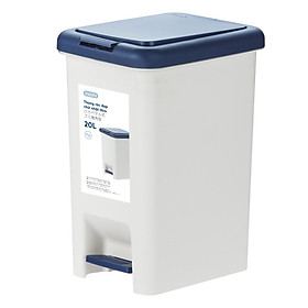 Thùng rác đạp chữ nhật Hiro 20L - trắng xanh đậm