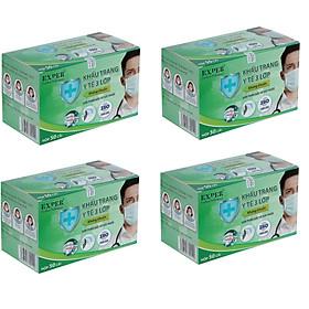 Combo 4 hộp khẩu trang y tế EXPER 3 lớp kháng khuẩn giành cho người lớn hộp 50 cái. Sản phẩm tai vải dán công nghệ Nhật không đau tai khi đeo