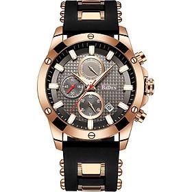 BIDEN Men Stainless Steel Band Watches Casual Quartz Watch Multifunctional Sport Calendar Wrist Watch