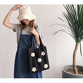 Túi tote vải bố đựng đồ canvas đeo vai phong cách Hàn Quốc