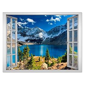Decal trang trí cửa sổ 3D hồ nước xanh mát châu Âu VTC VT0310