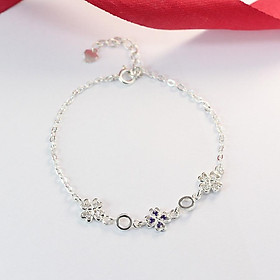Lắc tay bạc nữ 925 - Vòng tay bạc nữ cỏ 4 lá đính đá cao cấp LTN0113