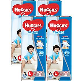 Combo 4 Gói Tã Dán Huggies Dry Gói Đại L42 (42 Miếng) - Bao Bì Mới