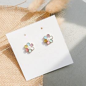 Hoa tai cầu vồng đơn giản dễ thương