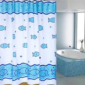 Rèm Phòng Tắm / Rèm Cửa Sổ Trằng Họa Tiết CA Ô VUÔNG XANH 180cm X 180cm Loại 1