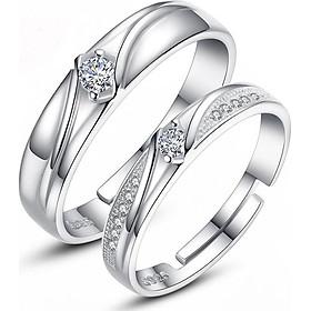 Nhẫn đôi đính đá bạc S925 - Trang sức PANMILA