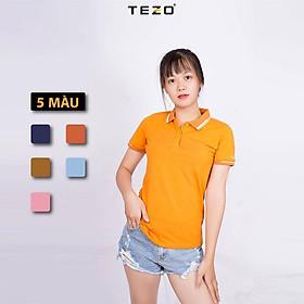 Áo polo nữ trơn TEZO, áo thun nữ có cổ phối bo chất liệu cotton cao cấp.
