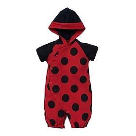 Bodysuit cho bé màu đỏ chấm bi đen