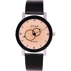 Creative Lovers Round Quartz Wrist Watches Leather Band Women Men Bracelet Clock
