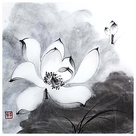 Tooarts Bright and Clear Lotus Chinese Painting Wall Art Artist Hand-Painted Chinese Brush Painting Traditional