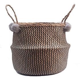 Giỏ cói trồng cây đan viền dọc đen thêu hoa thủ công mỹ nghệ