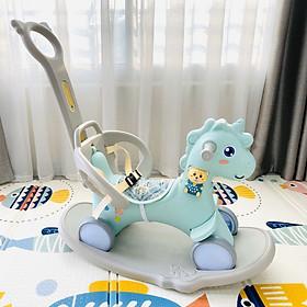 Ngựa bập bênh Holla 2020 3in: ngựa bập bênh- xe đẩy- xe chòi chân, thiết kế dây đai đảm bảo an toàn cho bé