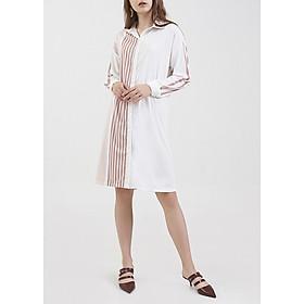 Đầm Sơmi Hoạ Tiết Sọc Bất Đối Xứng Marc Fashion - Sọc Nâu PN093418