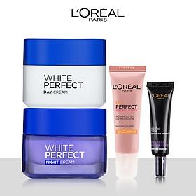 Bộ đôi kem dưỡng trắng,trẻ hóa bảo vệ da L'Oreal Paris White Perfect (Kem N-D,YC mini,KCN mini)
