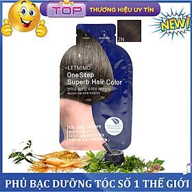 Gói Gội nhuộm đen tóc bạc, chiết xuất Thảo Mộc Letmimo, màu Nâu Đen-2N gói 24g, bestke