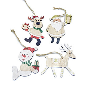 Pack Of 4 Wooden Christmas Pendants Xmas Tree Hanging Ornaments Home Colored Wood Tags For Christmas Gifts Decor