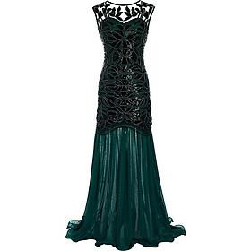 Đầm Maxi Cổ Xuyên Thấu Dự Tiệc Phong Cách Gợi Cảm