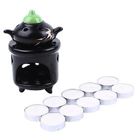 Combo Đèn Xông Tinh Dầu Hình Ấm Trà + Nến Tealight Trắng Thiên Thanh (Trắng) (Hộp 10 Viên)