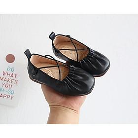 Giày Búp Bê Bé Gái Từ 1 Đến 6 Tuổi Quai Chéo Điệu Đà, Chất Da Êm Mềm, Siêu Nhẹ ( Đen, Trắng)