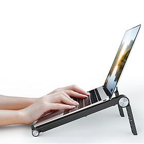 Giá Đỡ Tản Nhiệt Laptop, Macbook, Máy Tính Dạng Gấp Gọn, 4 Mức Điều Chỉnh Độ Cao; Hàng Chính Hãng iKiU - Đen