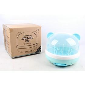 Khay úp bình sữa có nắp đậy hình tai gấu. Giá úp bình phụ kiện bình uống nước sữa cho bé -  tặng kèm bàn chải mềm mại cho bé