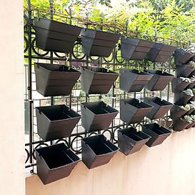 Bộ 1m2 [Khung+Chậu] vườn tường [JupiWall-16]: Chậu Kích thước lớn, khung thép, tùy biến vị trí chậu, dễ lắp đặt, Phù hợp trồng rau sạch, cây hoa lớn.