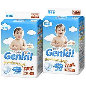 Bộ 2 Gói Tã dán Nhật cao cấp Genki (S, 72 miếng)