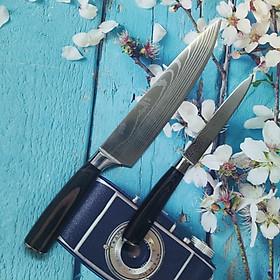 COMBO 2 DAO NHẬT VÂN HOA mẫu MỚI- HÀNG NỘI ĐỊA NHẬT. Bộ gồm 1 dao THÁI THỊT + 1 dao GỌT rau củ quả. Dụng cụ nhà bếp dùng thái SASHIMI, PHI LÊ mỏng, Gọt rau củ quả ĐẲNG CẤP