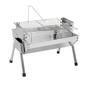 Bếp nướng than hoa VCS thay đổi chiều cao vỉ, Inox không gỉ sét, chống cháy thực phẩm, an toàn sức khỏe, không cần quạt, bếp nướng không khói, bếp nướng ngoài trời, bếp nướng than hoa vuông