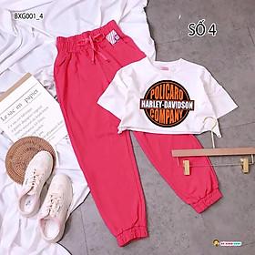 Set áo croptop quần jogger thể thao dễ thương cho bé gái BXG001-4