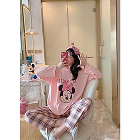 Đồ mặc nhà đồ ngủ cao cấp pijama cho nữ cottong  màu hồng chuột Micky không cổ quần dài áo dài thu đông họa tiết đáng yêu 2020