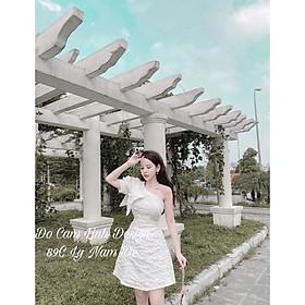 Đầm xoè dự tiệc gấm lệch vai nơ TRIPBLE T DRESS - size M/L -MS231V
