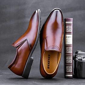 Giày Da Nam Công Sở - DYSEVEN - Chất Liệu Da Bò 100% Da Mềm Ít Nhăn Bóng Tự Nhiên