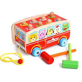 Đồ chơi gỗ 2 trong 1- xe kéo hình xe bus vui vẻ kết hợp đập chuột