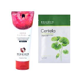 Combo sáng da sạch mụn và tái tạo phục hồi da gồm Tẩy da chết Beauskin Apple White Peeling Gel và Mặt nạ Centella Cica - Hàn Quốc Chính Hãng