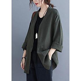 Áo khoác linen nữ 1 lớp dáng dài LAHstore, thời trang phong cách Nhật Bản