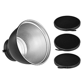 "7"" Standard Reflector Diffuser Lamp Shade Dish with 20° 40° 60° Honeycomb Grid for Bowens Mount Studio Strobe Flash"