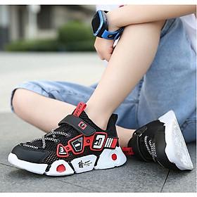 Giày sneaker bé trai  đen đỏ  siêu nhẹ cao cấp - GBT85