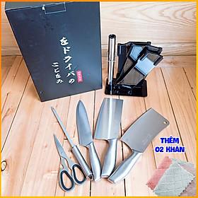 Bộ dao nhà bếp 08 MÓN - Bộ dao nhà bếp Nhật - Bộ dao nhà bếp cao cấp - 08 MÓN - Chất liêu Inox Sus 304 chống gỉ, an toàn vệ sinh thực phẩm