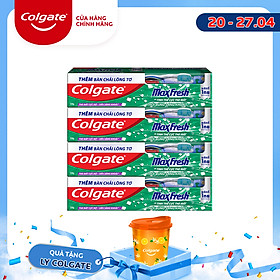 Bộ 4 Kem đánh răng Colgate the mát thổi bùng sảng khoái Maxfresh 230g tặng bàn chải đánh răng lông tơ