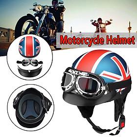 Motorcycle Retro Half Open Face Helmet Biker Scooter Visor UV Goggles For Harley