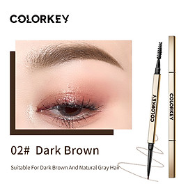 Colorkey Dual-ended Eyebrow Pencil with Brush Long-lasting Waterproof Natural Eyebrow Pen Eye Makeup -Small Gold Tube Series